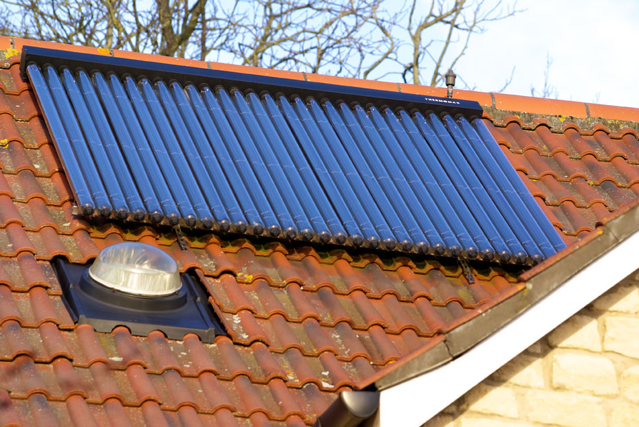 Solar water heating panels on a roof